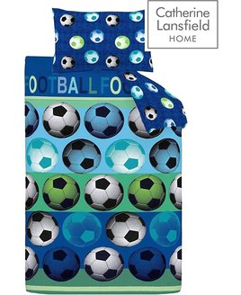 Blue and Green Football Patterned Single and Double Duvet Sets