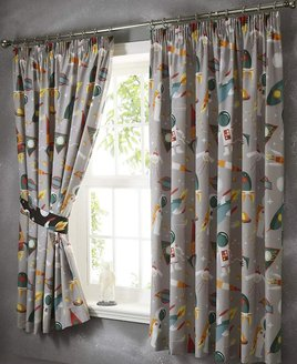 Spaceman And Rockets Curtains