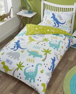 Single white duvet patterned with blue, green and grey, cute dinosaures. Leaf green reverse with footprint pattern.