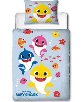 Reverisible pale blue, toddler duvet with all the Baby Shark family surrounded by colourful fish.