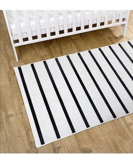 White, rectangular rug with narrow black stripes