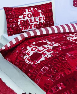 Red & White, Reversible Bedding. Red & White Striped Reverse. Front Patterned with Football Word Terms.