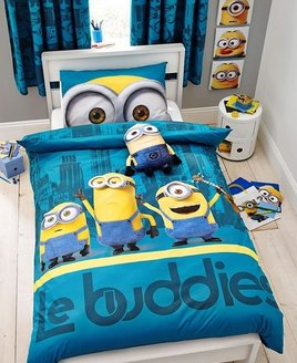 Blue and Yellow Minions, Le Buddies, Duvet. 3 of the cute little Minions against a cityscape background.
