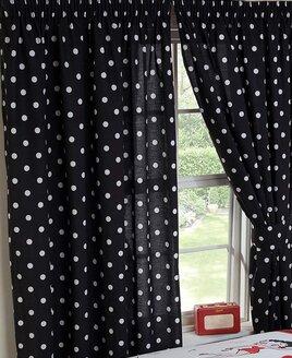 Betty Boo Polka Dot Curtains 72s - Black