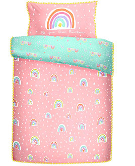Dusky Pink and Turquoise Duvet Cover patterned with small, colourful rainbows.