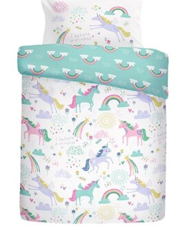 Reversible white and turquoise, Unicorn and Rainbow patterned bedding.