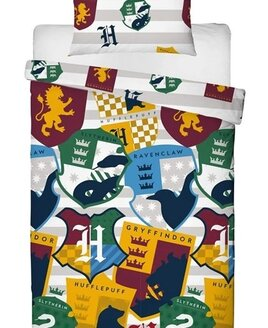 Harry Potter Bedding featuring the colourful shields from Hufflepuff, Gryffindor, Ravenclaw &Slytherin.