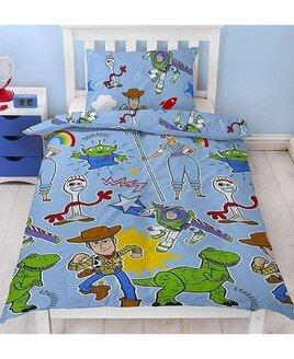 Blue, Toy Story Single Duvet Set. Woody, Buzz, Forky, Aliens and Dinosaur.