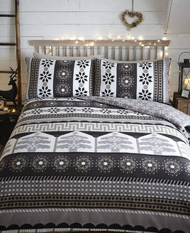 Aspen Nordic Christmas King Size Bedding, Charcoal - 100% Brushed Cotton