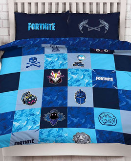 Two tone blue and grey, check board design duvet with Fornite Icons. Small blue pattern on the reverse.