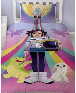 Rainbow, Over the Moon Bedding, with Fei Fei & Friends. The reverse is a pink & purple rocket design.