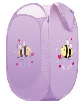 Nylon, Collapsable Pop Tidy. Lilac with a cute Bumble Bee Design.