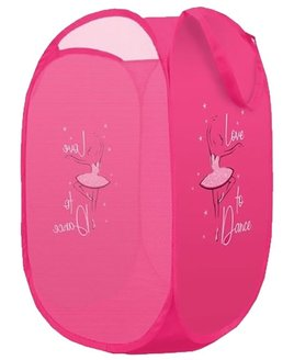 Pink, Nylon, Collapsable pop tidy with a ballerina print.