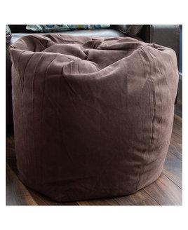 Faux Suede Herringbone BeanBag - Chocolate Brown