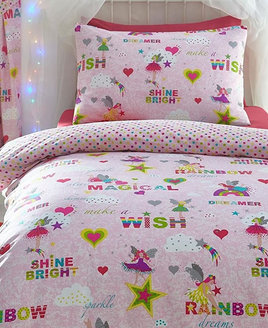 Pink duvet covers sprinkled with cute fairies and the words 'magical', 'shine bright' and 'make a wish'.