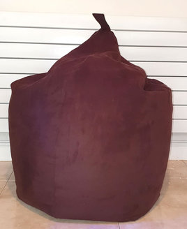 Large Faux Suede, Dark Brown Bean Bag - Adult size.