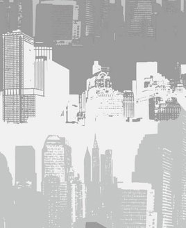 Catherine Lansfield Grey and White, City Scape Wallpaper