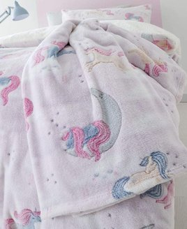 Pale Pink and White Fleece Blanket patterned with Dreamy, Sleepy Unicorns with Half Moons and Grey Stars.