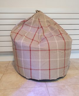 Large Beige, Red Gingham Bean Bag