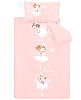 Pink duvet, edged with white polka dot pattern and 3, cute, ballerinas in the centre.
