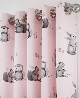 Pink, Woodland Themed Curtains with Owls, Hedgehogs, Squirrels and Bunny Rabbits. Pink and White Striped Reverse.