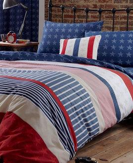 American Flag inspired, blue, red and white duvet. Blue Star Reverse Pattern.
