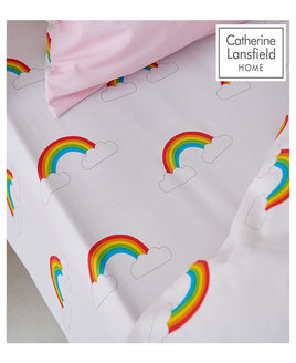 Catherine Lansfield Rainbow Swan Fitted Sheet