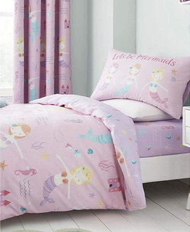 Pale pink duvet set with cute mermaids, starfish, fish and lilac seaweed.