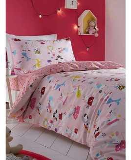 Girls pink duvet covers patterned with cute, dressed up mice, with a reverse of colourful lovehearts on a pink background.