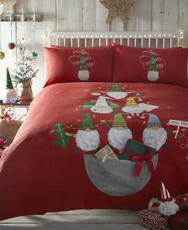 Gonk, Red Christmas Bedding with large grey pocket for Xmas Gifts