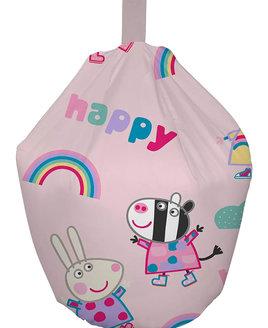 Pink, Peppa Pig Bean Bag. Zoe Zebra, Rebecca Rabbit, Rainbows, Fluffy Clouds and Love Hearts