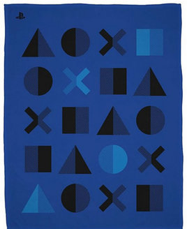 Large blue and black fleece blanket from the Play Station Dots range.