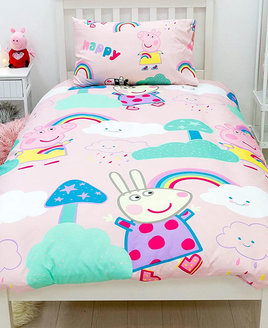 Pink, colourful single duvet with Peppa PIg, Zoe and Rebecca with the works 'happy' in a colourful font