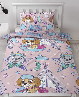 Paw Patrol, Sky and Everest with tents and sleeping bags on a pink background