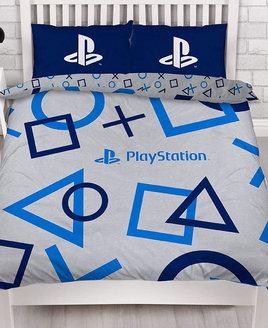 Blue and White Playstation Bedding Set. Reversible with smaller version of the pattern. Dark Blue Pillowcases.