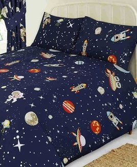 Midnight blue patterened with stars, red planets, spaceman and spaceships.