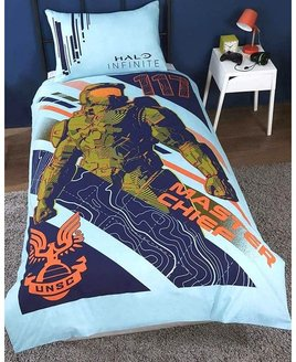 X-Box, Reversible Single& Double Bed Sets. Pale Blue with large armoured soldier and terrain pattern.