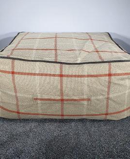Large Beige, Red Gingham Bean Bag Slab Footstool