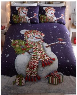 Happy Snowman, Christmas King Size Bedding