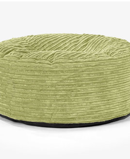 Large Jumbo Cord Bean Bag Slab Footstool - Green