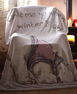 Lazy Bear Christmas Fleece Blanket