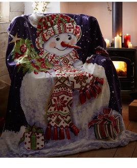 Happy Snowman Christmas Fleece Blanket