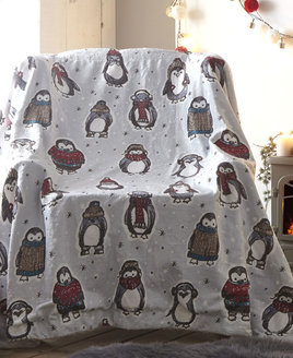 Snowy Penguin Christmas Fleece Blanket