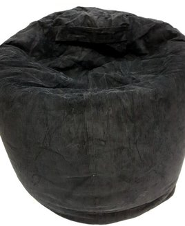 Large black bean bag. Adult sized with corduroy outer skin.