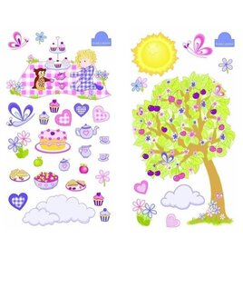 Nursery Wall Stickers, Apple Tree, Picnic with Food and Butterflies.