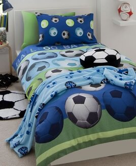 Catherine Lansfield Football Double Duvet Set Blue