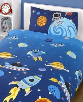 Colourful planets, fire powered rockets, space ships with white and blue stars on a dark blue background.
