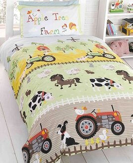 Toddler's Apple Tree Farm Themed Bedding Set. Tractors, Windmills, Cows, Horses, Ducks, Hens and a Sheep Dog