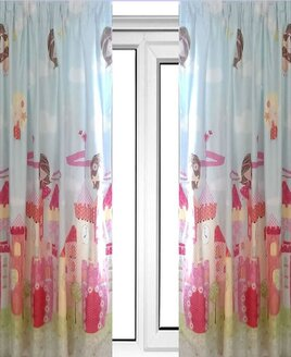 Pale Blue and Pink Curtains with Fairies and Pink Castles.