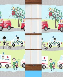 Nursery Curtains featuring the emergency services, amblulance, police and fire engines.